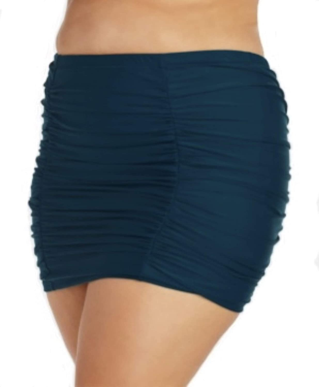 Raisins Curve Trendy Plus Size Juniors' High-Waist Tummy-Thinner Swim Skirt 14W Navy