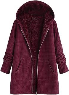 Womens Winter Jacket Parka Fleece Fuzzy Lined Hooded Cardigan Vintage Lattice Zip Up Long Coat Outerwear