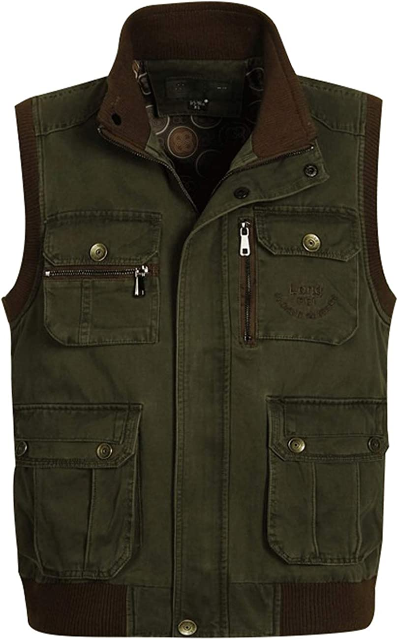 Zoulee New Men's Oversize Outdoor Photographers Vest with Multi Pockets Fishing Cotton Vest