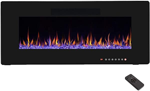 R W FLAME 42 Electric Fireplace Recessed Wall Mounted And In Wall Fireplace Heater Remote Control With Timer Touch Screen Adjustable Flame Colors And Speed 750 1500W