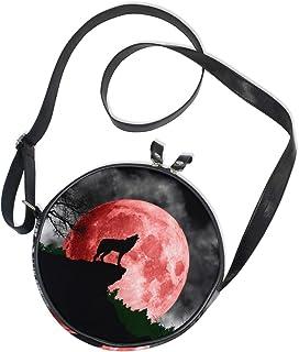 Ahomy Damen-Umhängetasche, rund, Wolf, heult auf dem roten Mond, Kreis, Handytasche, Mini-Umhängetasche, Geldbörse