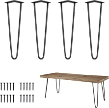 "Genius Iron 16"" Heavy Duty Hairpin Coffee Table Legs (Set of 4), 3/8"" Thick, Black"