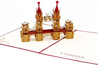 Creative 3D Greeting Card Handmade Paper Carved Hollow Birthday Architecture London Bridge Red