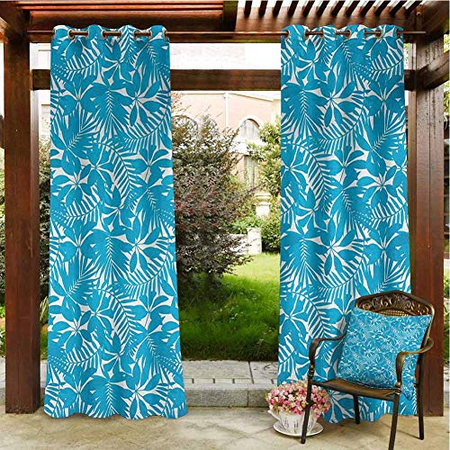 Aqua Outdoor Patio Curtain - Pergola Curtain Tropical Tree Leaves Pattern Hawaiian Nature and Vegetation Foliage in Blue and White Porch Grommet Printed Curtains 120x96 INCH,Blue White
