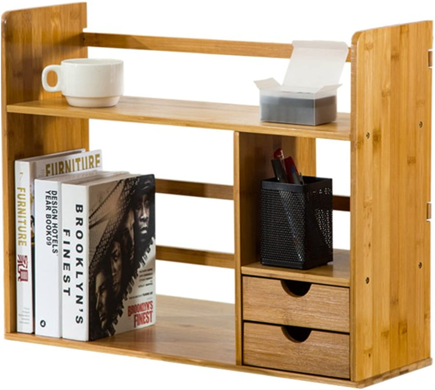 Bookcases, Cabinets Shelves Simple Table Rack with Drawers Student Creative Bookshelf Desk Solid Wood Storage Desktop Bookshelf Flower Stand Decoration Storage Rack Penholder (color   48cm)