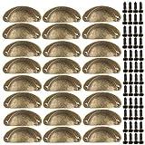 Xinlie Tiradores Muebles Antiguos Muebles de Ccocina Armario Cajón Tiradores Perillas Retro Muebles de Muebles Armarios Puerta Gabinete Tirador Tiradores y Perillas Shell Forma 24 PCS(Bronce Amarillo)