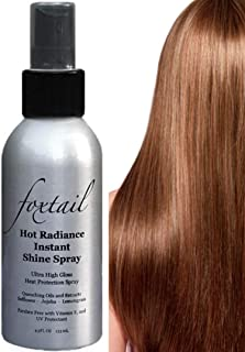 Foxtail Hot Radiance Instant Shine Spray - Advanced Heat Shield for Flat Irons and Heat Styling, Smooths & Seals Hair Cuticle, UV Protectant, 4.5 Fl Oz, 133 mL