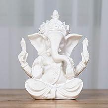 Religious Sandstone Ganesha Buddha Elephant Statue Sculpture Handmade Natural Sandstone Craft Figurine Miniatures Home Dec...