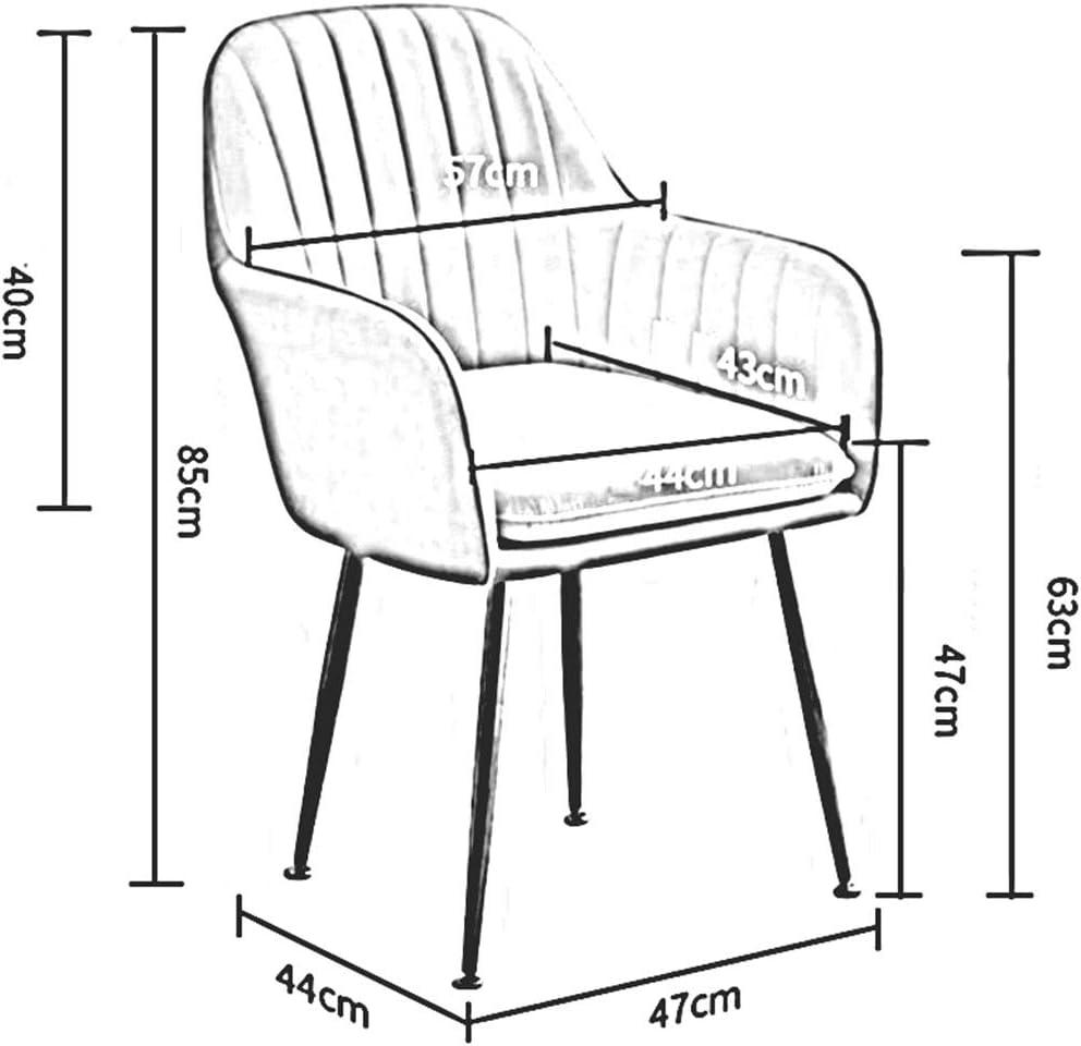 Chaise De Salle à Manger en Velours Style Nordique Chaise De Table avec Dossier Jambes en Métal Doré Coussin Doux Antidérapant 47X44X85 Cm(Color:Gris Clair) Bleu Marin