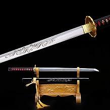 TRUEKATANA Full Tang Carbon Steel Real Handmade Japanese Straight Katana Ninja Ninjato Samurai Swords