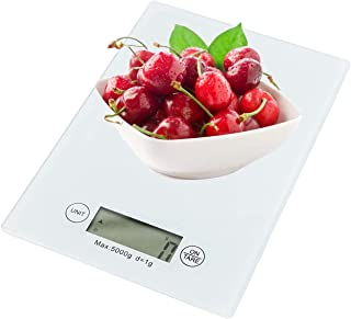 MORLIFE LCD Screen Digital Kitchen Scale Including Grams, Kilo Grams, Oz, Pounds and ML up to 5kg White Color
