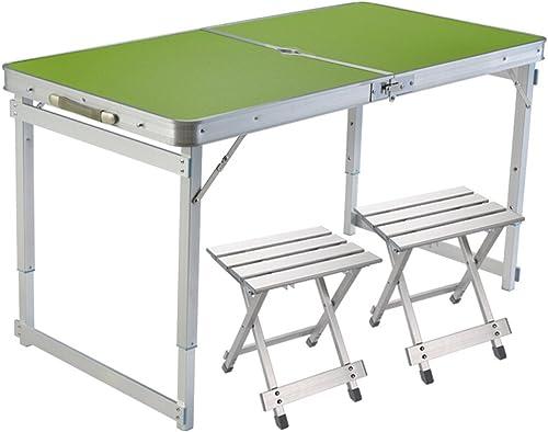 SXY Table Se Pliante extérieure portative, Table Se Pliante de Taille réglable Simple d'alliage d'aluminium 2 tabourets Se pliants en Aluminium