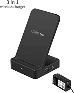 Wireless Charger Stand [3 in 1], i.VALUX Qi Wireless Charger for Samsung Galaxy S10/S10+/ S8/Note 8 with 18W PD Fast Charger/Quick Charger 3.0, Wireless Charge for iPhone 11/11 Pro/XS/XS Max/XR,Black