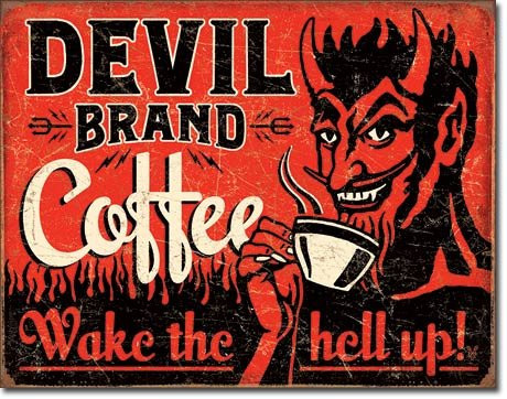 The Finest Website Inc. New Devil Brand Coffee 16' x 12.5' (D2042) Nostalgic Aged Weathered Appearance Advertising Tin Sign