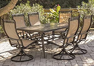 "Hanover Monaca 7-Piece Cast Aluminum Outdoor Patio Dining Set, 6 Sling Swivel Rocker Chairs and 40""x68 Tile Top Rectangle Table, Brushed Bronze Finish with Tan Sling, Rust-Resistant, MONDN7PCSW-6"
