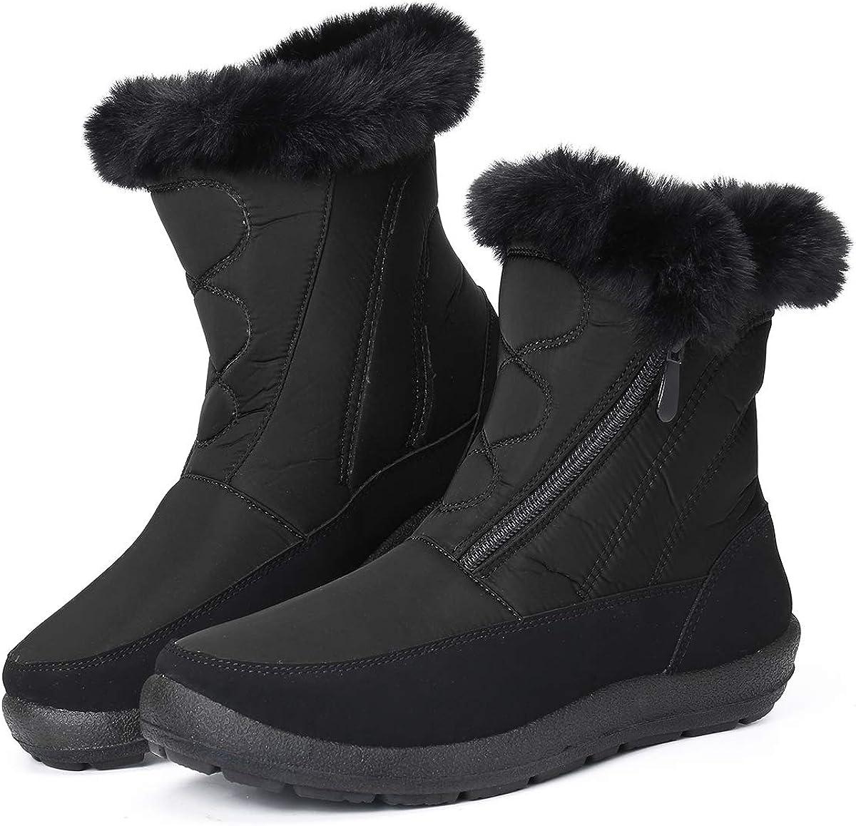 Zapatos de Invierno Botas de Lluvia de Piel Botas Impermeables Furty Rising Hot para Caminar Senderismo Camfosy Botas de Nieve para Mujer