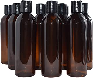 Bekith 12 Pack 8 ounce Amber Empty Plastic Bottles with Disc Top Flip Cap; BPA-Free Refillable Containers For Shampoo, Lotions, Liquid Body Soap, Creams