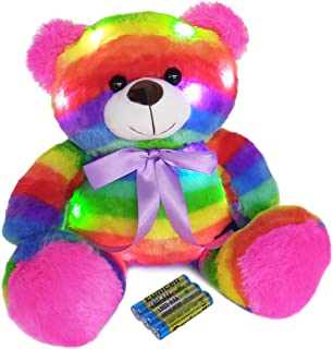 The Noodley Stuffed LED Light Up Animal Toys, Night Lights with Batteries for Toddlers and Kids - Glow Plush Rainbow Teddy Bear, 16 Inches