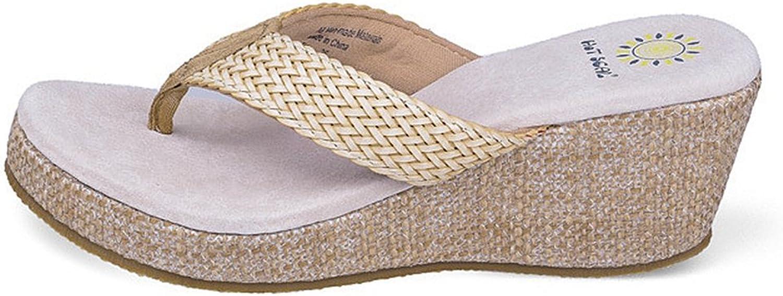 CYBLING Womens Wedge Thong Sandals Fashion Beach Non-Skid Flip-Flop Platform Summer Casual Slipper shoes