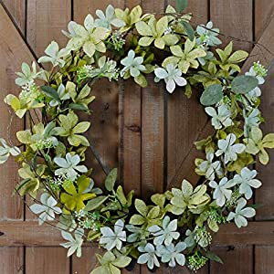 Bibelot Bright Floral Wreath- Artificial Green Wild Flowers and Green Leaves Wreath for Summer Indoor/Outdoor Decor