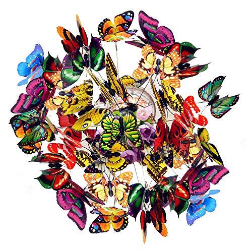 50 st färgglada trädgårdsfjärilar pinnar, fjärilar trollsländor uteplats prydnader på pinnar för utomhus blomkrukor trädgård gårdsdekoration
