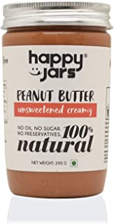 Happy Jars 100% Natural Unsweetened Creamy Peanut Butter | Smooth Consistency | Have it on Toast or Fruits | Gluten-Free |...