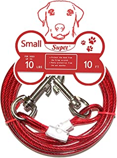 Supet Tie Out Cable for Dogs, Double Heads Steel Wire Tieout Leash Chew Resistant with Anti-Winding Dog Metal Leash for Small Medium or Large Dogs