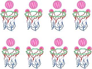 TOYANDONA 8pcs Bath Toys Bathtub Basketball Hoop Balls Kid Toddler Shooting Game with Strong Suctions Pink