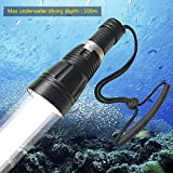Goldengulf Professional 100M Depth Scuba Diving Flashlight Cree L2 LED 1800 Lumen Torch Waterproof Underwater Light Lamp Rechargeable 18650 Battery and Charger Included/Gift Box Package (160, 60)