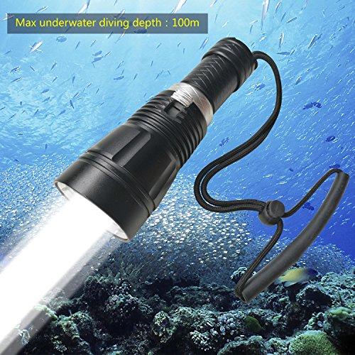 BIGMAC Professionelle Tauch-Taschenlampe, 100 m Tiefe, Cree L2 LED, 1800 Lumen, wasserdicht, Unterwasser-Lampe, wiederaufladbarer 18650 Akku und Ladegerät im Lieferumfang enthalten/Geschenkbox