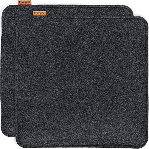 Miqio® Design Sitzkissen Rechteckig aus Filz 35x35 cm | 2er Set | Waschbare Stuhlkissen rutschfest | Gemütliche Sitzauflage für Bank und Stuhl | Anthrazit/Dunkelgrau