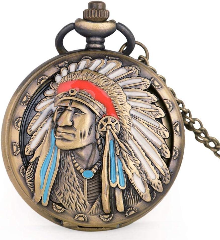 LLGBD Accessories/Steampunk Antiguo Antiguo Indio Viejo Colorido Retrato diseño Cuarzo Fob Bolsillo Reloj Collar Colgante Bronce