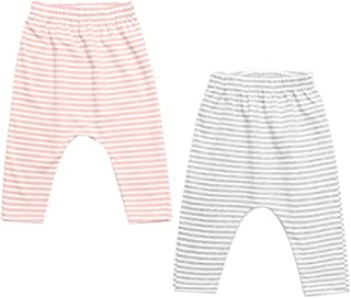 mikistory Pants Baby Girls Stripe Pants Legging Set Newborn Infant 2-Pack Pink Grey