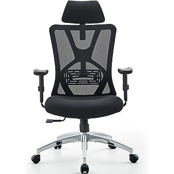 Ticova オフィスチェア 人間工学椅子 調節可能 な腰サポーとヘッドレストとアームレスト付き 厚手座面 140度リクライニングチェア 搖りチェア パソコンチェア デスクチェア ハイバック事務椅子 メッシュチェア