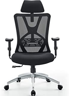 Ticova Ergonomic Office Chair - High Back Desk Chair with Adjustable Lumbar Support & Thick Seat Cushion - 140°Reclining &...