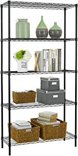 5 Shelf Wire Shelving Unit Garage NSF Wire Shelf Metal Large Storage Shelves Heavy Duty Height Adjustable Utility Commercial Grade Steel Layer Shelf Rack Organizer 1250 LBS Capacity -14x36x72,Black