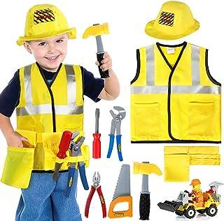 Tacobear Obrero Disfraz para niños Disfraz Trabajador Construcción Disfraz de rol con Herramientas y Juguetes vehiculares para Carnaval Halloween Navidad