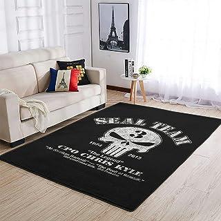 OwlOwlfan Seal Team Tapis de sol antidérapant moderne pour chambre à coucher, canapé, salon, chambre d'enfant Blanc 122 x ...