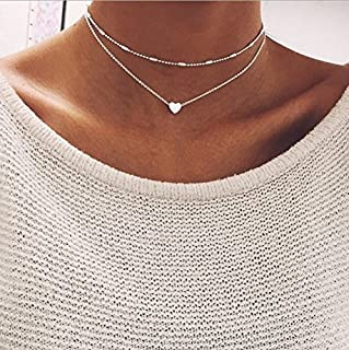 MAIHAO 925 Silver Double Layer Necklace Heart Choker Chunky Chain Bib Necklace Women Jewelry Pendant GF (Silver)