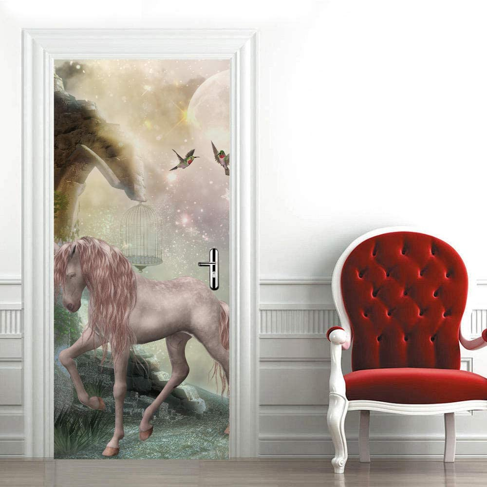 ZCLCHQ Wall Decal Stickers Spasm price Waterproof Stereo Now on sale Unicorn Doo Pink 3D