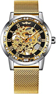 Caluxe Wrist Watch Skeleton Hand-Winding Mechanical Watch for Unisex Women/Men with Mesh Band