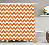 Ambesonne Chevron Shower Curtain, Halloween Pumpkin Color Chevron