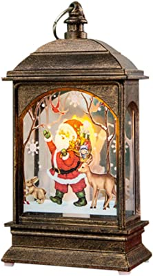 GEEZY White Glitter Snow Lantern Battery Operated LED Light Christmas Home Decoration