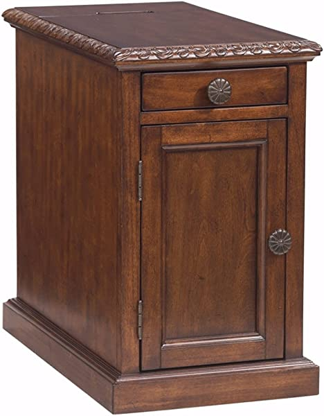 Ashley Furniture Signature Design Laflorn Chairside End Table Accent Side Table Rectangular Dark Brown
