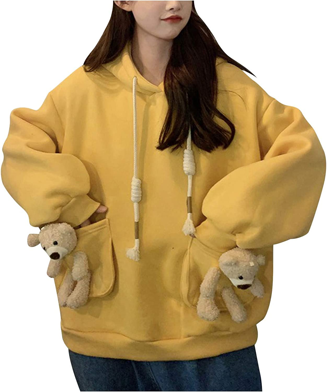 Tupenty Hoodies for Women, Womens Cute Bear Pocket Oversize Hoodie Pullover Drawstring Sweatshirt Long Sleeve Tunic Tops