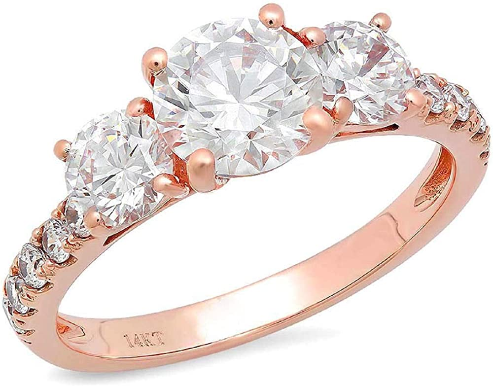 Clara Pucci 1.9 CT Round Cut Pave Three Stone Accent Bridal Anniversary Promise Engagement Wedding Band Ring 14K Rose Gold