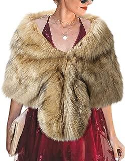 Women's Faux Fur Shawl Winter Wraps Coat Sweater Fur Stole for Brides and Bridesmaids