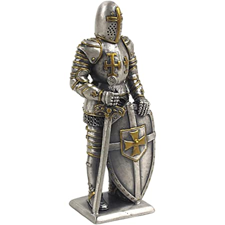 Ancestors Medieval Pewter Statue Knight With Sword And Shield Amazon Co Uk Kitchen Home
