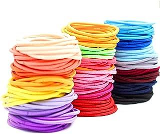 Devin0705 100 Hair Elastics Hair Ties No Crease Ouchless Ponytail Holders No Metal 2mm (100 Hair Elastics-Rainbow)