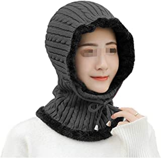 Ladies' Autumn and Winter Wool Hats Twisted Rope Ear Protectors Plus Velvet Warm Knit hat Riding Windproof Pullover Cap WZXSMDY (Color : Gray, Size : One Size)